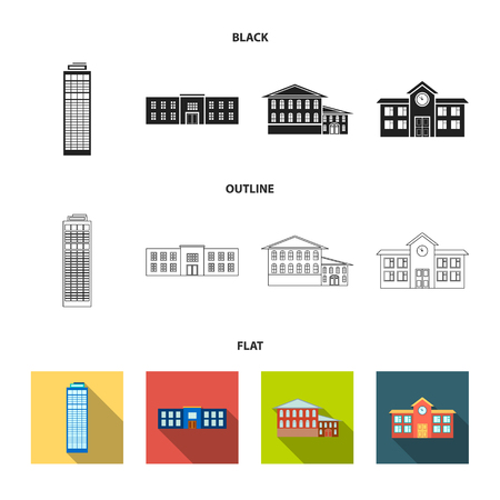 Skyscraper, police, hotel, school.Building set collection icons in black,flat,outline style vector symbol stock illustration web.
