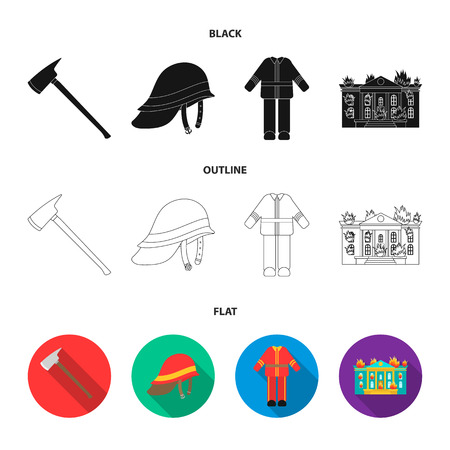 Ax, helmet, uniform, burning building. Fire departmentset set collection icons in black,flat,outline style vector symbol stock illustration web.
