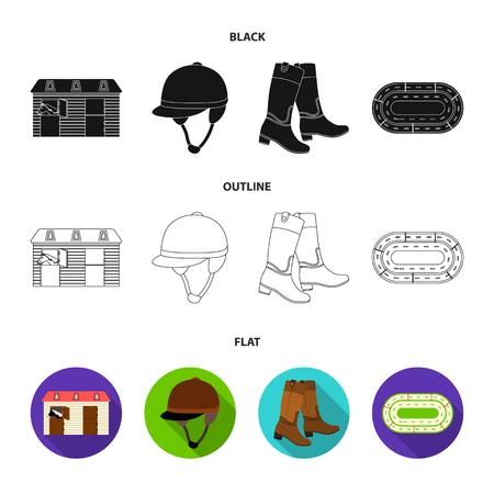 Bottes, herbe, stade, piste, repos.Hippodrome et cheval mis icônes de la collection en noir, plat, contour style vecteur symbole stock illustration web.