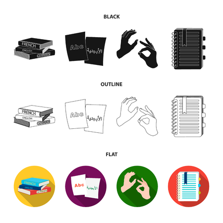 A pile of books in different languages, sheets of paper with translation, a gesture of deaf mutes, a notebook with text. Interpreter and translator set collection icons in black,flat,outline style vector symbol stock illustration .