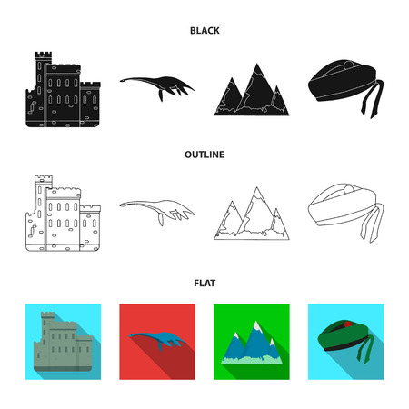 Edinburgh Castle, Loch Ness Monster, Grampian Mountains, national cap balmoral,tam shanter. Scotland set collection icons in black,flat,outline style vector symbol stock illustration web. Çizim