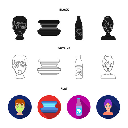 Face mask, solarium, bottle ts lasenom, pimples on face. Skin Care set collection icons in black,flat,outline style vector symbol stock illustration web.
