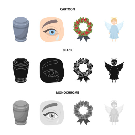 The urn with the ashes of the deceased, the tears of sorrow for the deceased at the funeral, the mourning wreath, the angel of death. Funeral ceremony set collection icons in cartoon,black,monochrome style vector symbol stock illustration web.