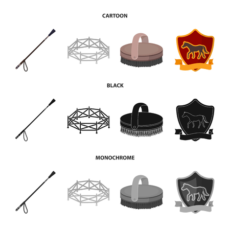 Aviary, whip, emblem, hippodrome .Hippodrome and horse set collection icons in cartoon,black,monochrome style vector symbol stock illustration web.
