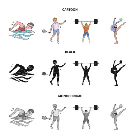 Swimming, badminton, weightlifting, artistic gymnastics.  sport set collection icons in cartoon,black,monochrome style vector symbol stock illustration web.