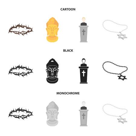 Una corona de espinas, una estrella de David, un sacerdote, una cabeza de Buda. La religión establece los iconos de la colección en la web de dibujos animados, negro, monocromo, estilo vector símbolo stock de ilustración.