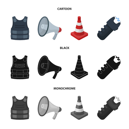 Bulletproof vest, megaphone, cone of fencing, electric shock. Police set collection icons in cartoon,black,monochrome style vector symbol stock illustration web. Иллюстрация