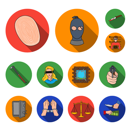 Crime and Punishment flat icons in set collection for design.Criminal vector symbol stock web illustration.