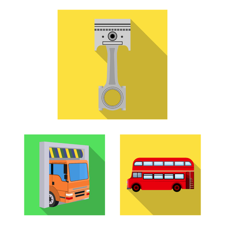 Car, lift, pump and other equipment flat icons in set collection for design. Car maintenance station vector symbol stock illustration web.