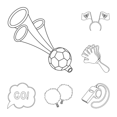 Fan and Attributes outline icons in set collection for design. Sports Fan vector symbol stock web illustration.