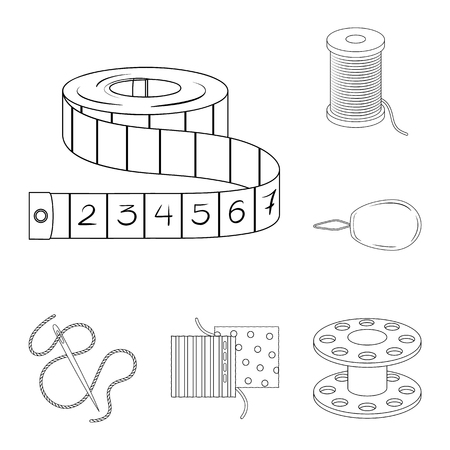 Sewing, atelier outline icons in set collection for design. Tool kit vector symbol stock web illustration. Ilustração