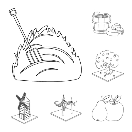 Farm and agriculture outline icons in set collection for design. Garden and plants isometric vector symbol stock web illustration.