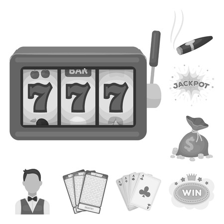 Casino and gambling monochrome icons in set collection for design. Casino and equipment vector symbol stock web illustration.