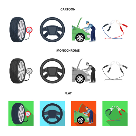 Engine adjustment, steering wheel, clamp and wheel cartoon,flat,monochrome icons in set collection for design.Car maintenance station vector symbol stock illustration web. Illustration