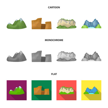 Green mountains with snow tops, a canyon, rocks with forests, a lagoon and rocks. Different mountains set collection icons in cartoon,flat,monochrome style vector symbol stock illustration web.
