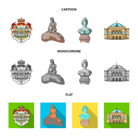 National, symbol, drawing, and other web icon in cartoon,flat,monochrome style. Denmark, attributes, style, icons in set collection.