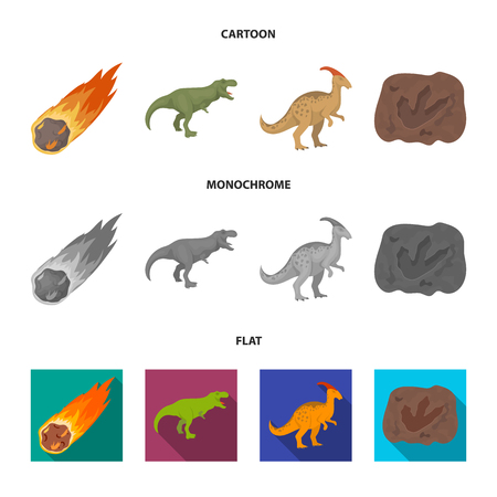 Un meteorito que cae, parasaurolophus, tiranosaurio, una huella de un pie de dinosaurio. El dinosaurio y el período prehistórico establecen los iconos de la colección en la web de dibujos animados, planos, monocromos, estilo vector símbolo stock de ilustración.