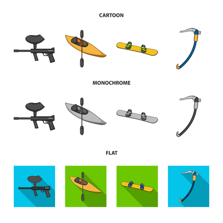 Paintball marker, kayak with a paddle, snowboard and climbing ice ax.Extreme sport set collection icons in cartoon,flat,monochrome style vector symbol stock illustration web.