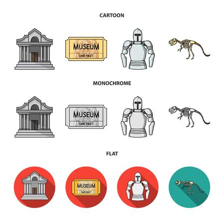 Immagine, sarcofago del faraone, walkie-talkie, corona. Museo impostata icone dell'accumulazione in fumetto, piatto, monocromatico vettore stile simbolo illustrazione stock web. Vettoriali