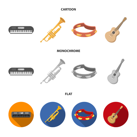 Electro organ, trumpet, tambourine, string guitar. Musical instruments set collection icons in cartoon,flat,monochrome style vector symbol stock illustration web. Illustration