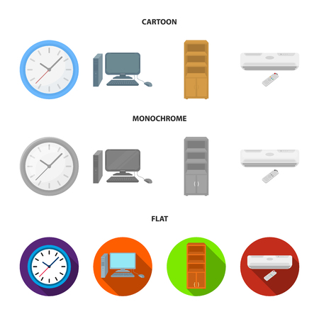Clock with arrows, a computer with accessories for work in the office, a cabinet for storing business papers, air conditioning with remote control. Office Furniture set collection icons in cartoon,flat,monochrome style vector symbol stock illustration web.