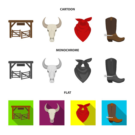 Gates, a bull skull, a scarf around his neck, boots with spurs. Rodeo set collection icons in cartoon,flat,monochrome style vector symbol stock illustration web.