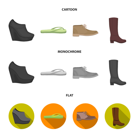 Autumn black shoes on a high platform, flip-flops green for relaxation, sandy men autumn shoes, high brown boots. Shoes set collection icons in cartoon,flat,monochrome style vector symbol stock illustration web.