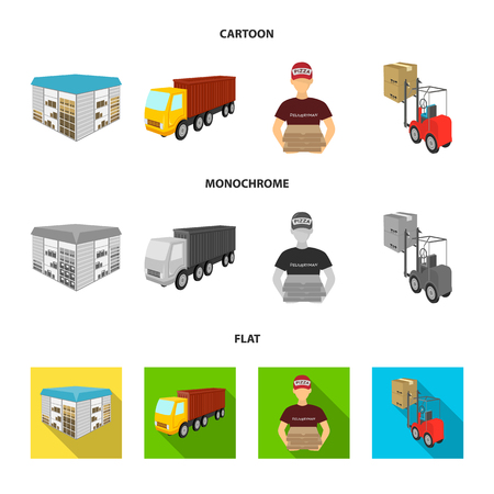 Truck, courier for delivery of pizza, forklift, storage room. Logistics and delivery set collection icons in cartoon,flat,monochrome style isometric vector symbol stock illustration web. Illustration