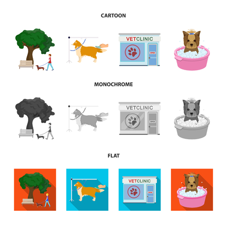 Walking with a dog in the park, combing a dog, a veterinarian office, bathing a pet. Vet clinic and pet care set collection icons in cartoon,flat,monochrome style vector symbol stock illustration web. Vettoriali