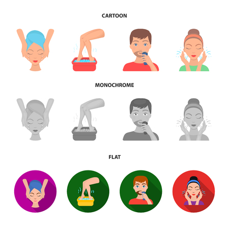 Face massage, foot bath, shaving, face washing. Skin Care set collection icons in cartoon,flat,monochrome style vector symbol stock illustration web.