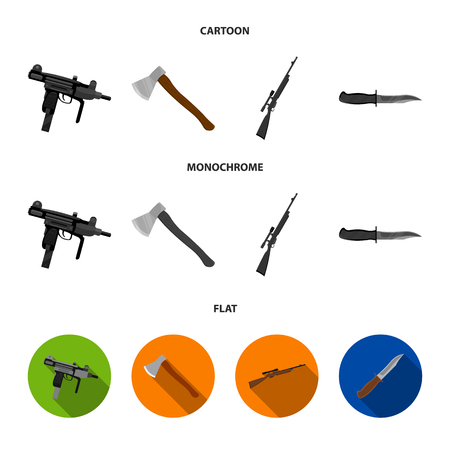 Ax, automatic, sniper rifle, combat knife. Weapons set collection icons in cartoon,flat,monochrome style vector symbol stock illustration web.
