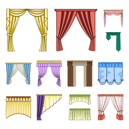 Different kinds of curtains cartoon icons in set collection for design. Curtains and lambrequins vector symbol stock web illustration.