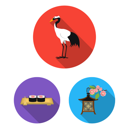 Country Japan flat icons in set collection for design.Japan and landmark vector symbol stock web illustration.