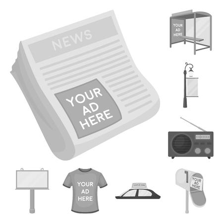 Produktion von monochromen Werbesymbolen in Set-Sammlung für Design. Werbeausrüstung Vektor Symbol Lager Web-Illustration.