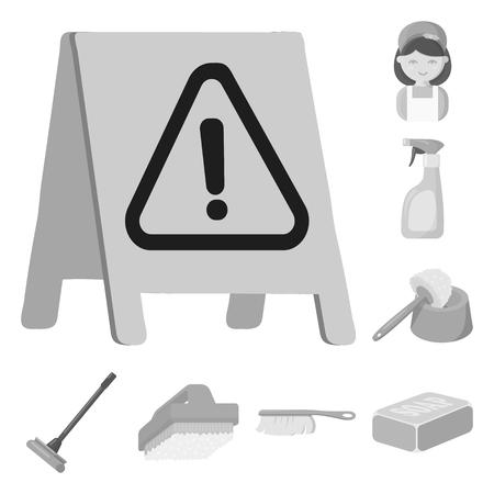 Schoonmaak en meid zwart-wit pictogrammen in set collectie voor design. Apparatuur voor het reinigen van vectorillustratie symbool voorraad web.