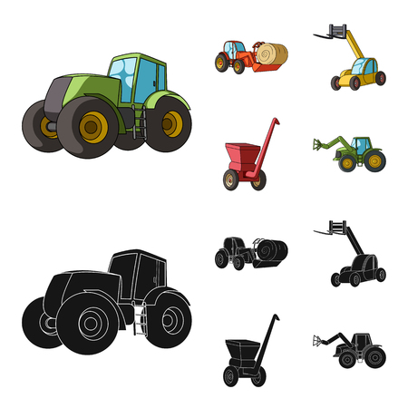 Tractor, hay balancer and other agricultural devices. Agricultural machinery set collection icons in cartoon,black style vector symbol stock illustration web.