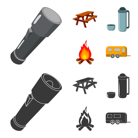 A flashlight, a table with a bench, a thermos with a cup, a caster. Camping set collection icons in cartoon,black style vector symbol stock illustration web.