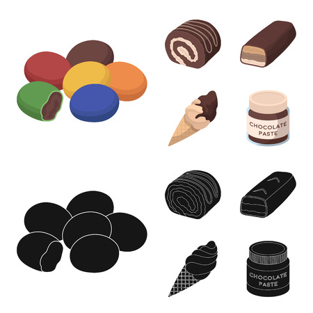 Dragee, roll, chocolate bar, ice cream. Chocolate desserts set collection icons in cartoon,black style vector symbol stock illustration web. Illustration