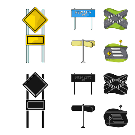 Road signs and other web icon in cartoon,black style.Road junctions icons in set collection. Illustration