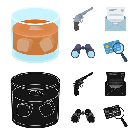 A glass of whiskey, a gun, binoculars, a letter in an envelope.Detective set collection icons in cartoon,black style vector symbol stock illustration web.