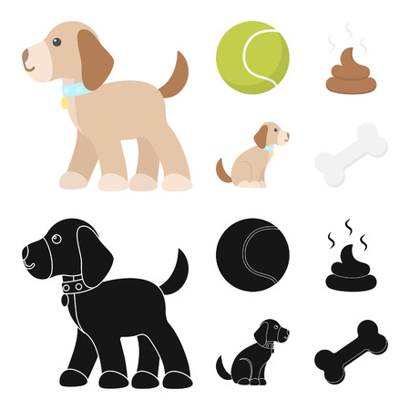 Dog sitting, dog standing, tennis ball, feces. Dog set collection icons in cartoon,black style vector symbol stock illustration web.