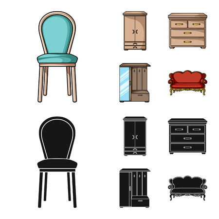 Armchair, cabinet, bedside, table .Furniture and home interiorset collection icons in cartoon,black style vector symbol stock illustration web. Illustration