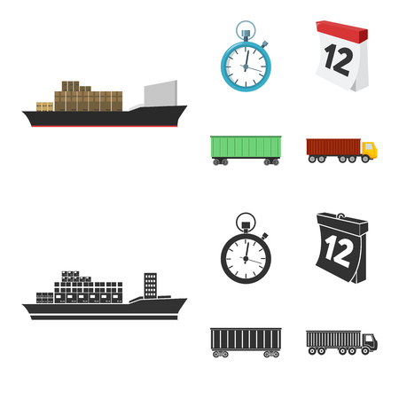 Cargo ship, stop watch, calendar, railway car.Logistic,set collection icons in cartoon,black style vector symbol stock illustration web.