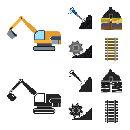 Excavator, tunnel, elevator, coal harvester and other equipment.Mine set collection icons in cartoon,black style vector symbol stock illustration web. Vettoriali