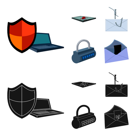 Hacker, system, connection .Hackers and hacking set collection icons in cartoon,black style vector symbol stock illustration web.