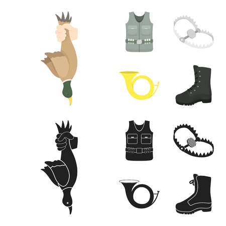 A trophy in his hand, a steel trap, a hunting vest with patronage, a horn..Hunting set collection icons in cartoon,black style vector symbol stock illustration web.