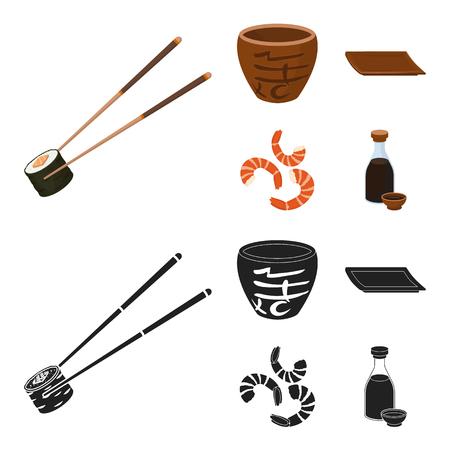 Palos, camarones, sustrato, tazón de fuente.Sushi establece los iconos de la colección en la web de dibujos animados estilo vector símbolo stock de ilustración. Ilustración de vector