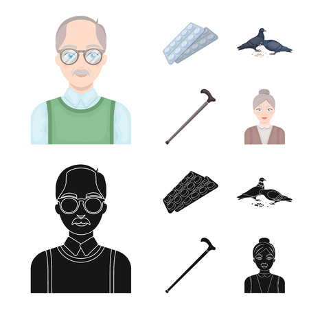 Elderly men, tablets, pigeons, walking cane.Old age set collection icons in cartoon,black style vector symbol stock illustration web.