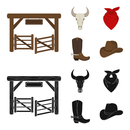 Gates, a bull skull, a scarf around his neck, boots with spurs. Rodeo set collection icons in cartoon,black style vector symbol stock illustration web.