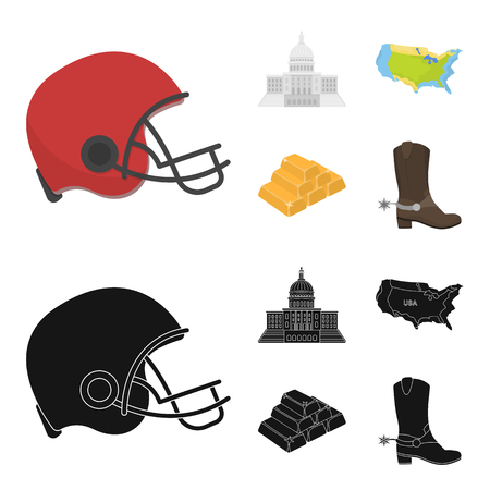 Football player helmet, capitol, territory map, gold and foreign exchange. USA Acountry set collection icons in cartoon,black style vector symbol stock illustration web.